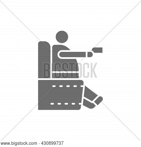 Fat Man Sitting In Chair, Obesity, Sedentary Lifestyle Grey Icon.