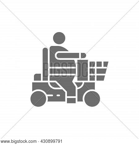 Fat Man Sitting In Wheelchair, Disabled Carriage, Obesity Grey Icon.