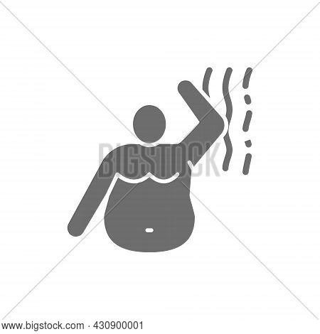 Stink Of A Fat Man, Bad Smell, Obesity Grey Icon.
