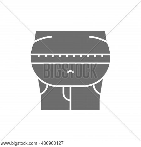 Obesity, Belly Fat Grey Icon. Isolated On White Background