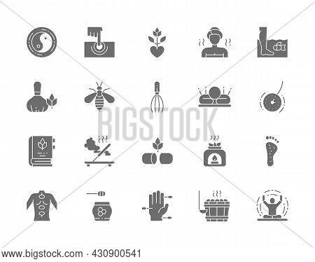 Set Of Alternative Medicine Grey Icons. Bathhouse, Meditation, Yoga And More.