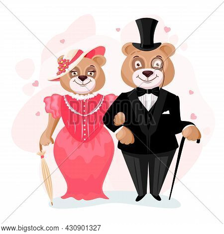 Bear Groom And Bride. Bears In Retro Clothes. Loved Bears In Clothes. Vector Illustration In Cartoon