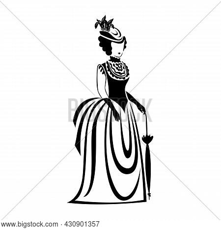 Woman In Retro Clothes 19th Century. Vector Illustration. The Silhouette Of A Woman Is Drawn With A