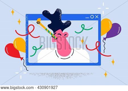 Online Party And Remote Celebration Concept. Face Of Young Smiling Man Boy Looking From Laptop Scree