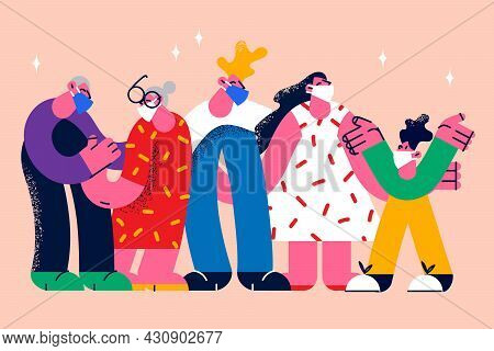 People Wearing Protective Medical Masks Covid-19 Concept. Group Of Young And Old People Standing Wea