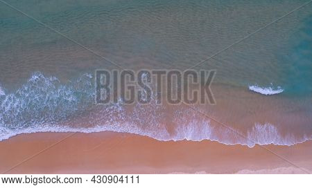 Aerial View Of Sea And Sand Beach At Sunset Or Sunrise Amazing Wave Crashing On Sandy Shore Pink San