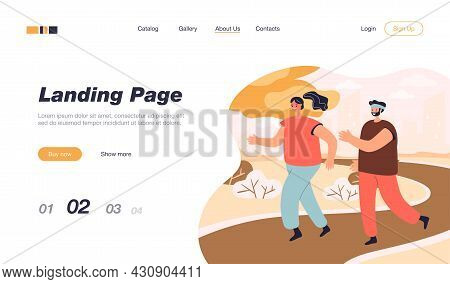Happy Couple Running Together In Park. Male And Female Cartoon Persons Jogging In Summer Flat Vector