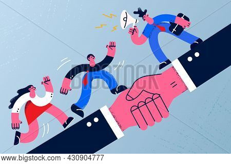 Deal, Agreement And Business Cooperation Concept. Group Of Young Business Partners Running Over Huge