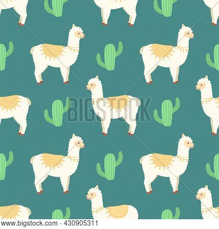 Seamless Pattern With Lamas And Cacti, Vector Illustration