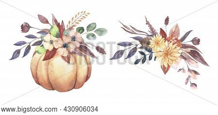 Watercolor Thanksgiving Invitations Bouquets With Hand Painted Pumpkins, Pink Flowers. Romantic Flor