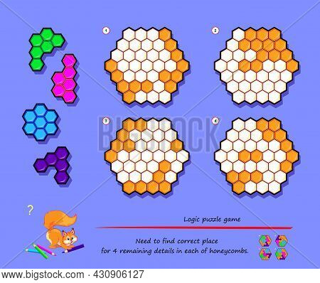 Logic Puzzle Game For Children And Adults. Need To Find Correct Place For 4 Remaining Details In Eac