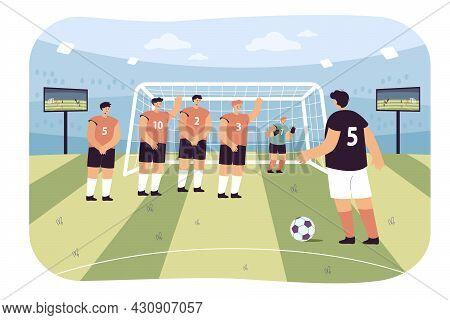 Soccer Penalty Kick Flat Vector Illustration. Cartoon Soccer Players And Goalkeeper Defending Goal O