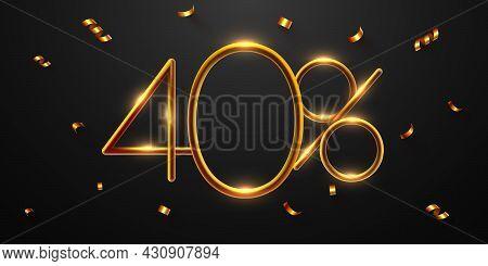 40 Percent Off. Discount Creative Composition Of Golden Balloons. 3d Mega Sale Or Forty Percent Bonu