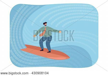 Businessman Surfing On Digital Wave. Flat Vector Illustration. Person Exploring Virtual Reality Full
