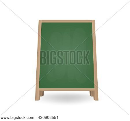 Realistic Blank Chalkboard A-frame Standee. Street Board For Menu Announcement. Special Advertising
