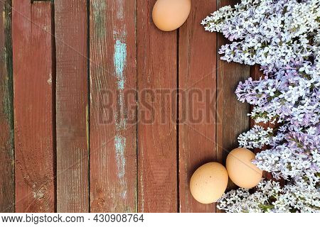 Brown Eggs Of Domestic Chicken Hens And Lilac Flower On Old Red Wood Texture Background. Spring And