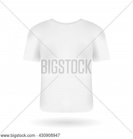 Realistic Back View T-shirt Mockup Template For Your Design. White Sportive Man T-shirt With Short S