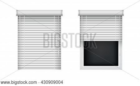 Closed And Open Horizontal Window Blinds. Realistic Plastic Window Shutters, Front View. Vector Jalo