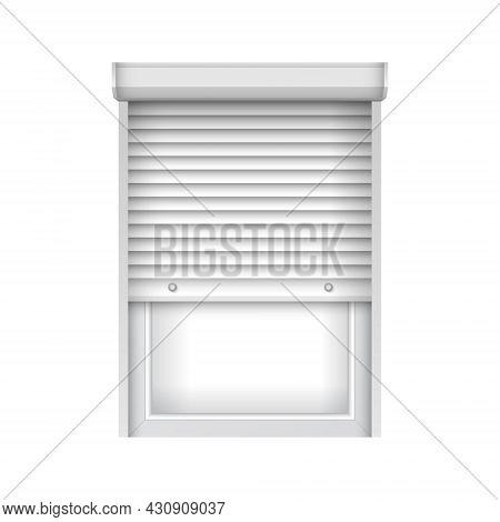 Realistic Plastic Window With Half Open Blind. Roller Shutter For Glass Window. Open Window Jalousie
