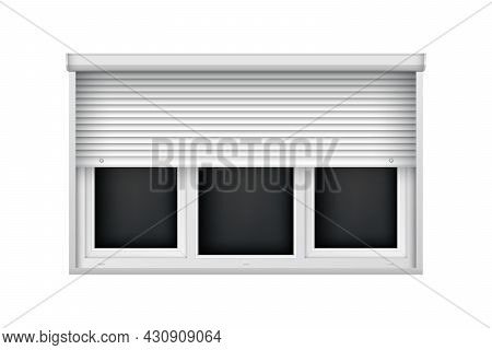 White Triple Plastic Window With Half Open Blind. Realistic Roller Shutter For Glass Window. Large J
