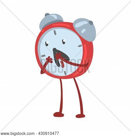 Red Astonished Alarm Clock Character Gasping With Amazement Vector Illustration
