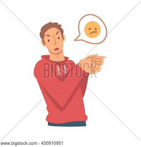 Young Angry Man Character Expressing Discontent In Social Media Vector Illustration