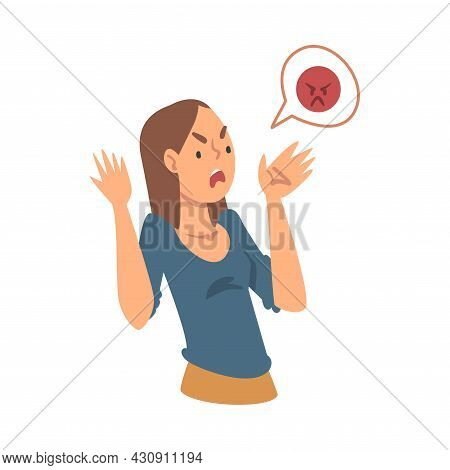 Young Angry Woman Character Expressing Discontent In Social Media With Furious Face Vector Illustrat
