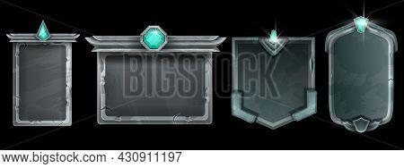 Game Stone Frame Ui Vector Background Set, Medieval Interface Menu Panel Kit, Green Gemstone. Displa