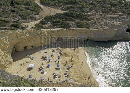 Aerial View Of Carvalho Beach In Carvoeiro, Lagoa, Algarve, Portugal