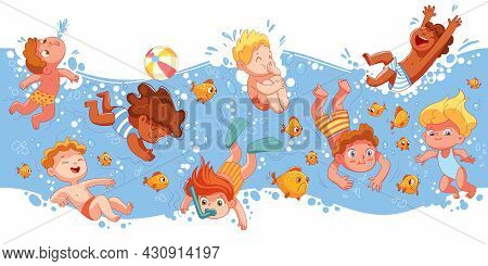 Children Have Fun Diving Under Water. Funny Cartoon Character. Vector Illustration. Seamless Panoram