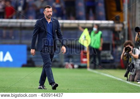 Genova, Italy. 23 August 2021. Roberto D'aversa, Head Coach Of Uc Sampdoria  During The Serie A Matc