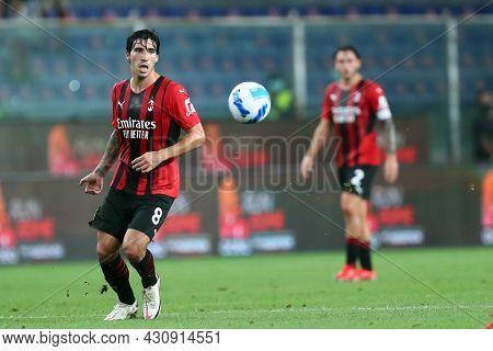 Genova, Italy. 23 August 2021. Sandro Tonali Of Ac Milan   During The Serie A Match Beetween Uc Samp