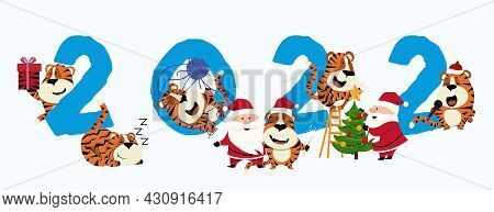 2022 New Years Card Of Three Tigers That Seem To Have Fun With The 2022 , Tiger. Vector Illustration