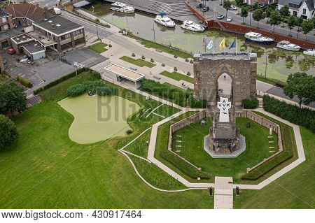 Diksmuide, Flanders, Belgium - August 3, 2021: Aerial View On Pax Gate And Crypt Ruin At Ijzertoren.