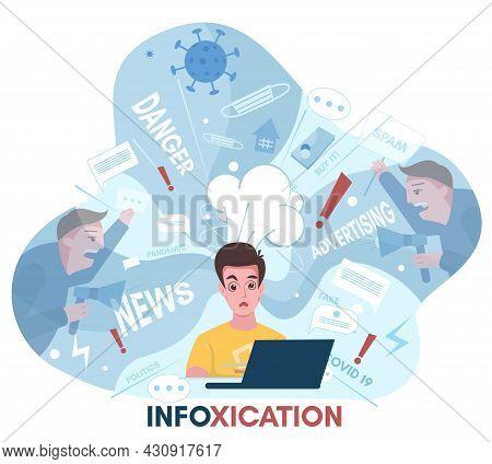 Information Overload, Infoxication. Politics, Covid-19, Internet Advertising, Social Media News, Vec