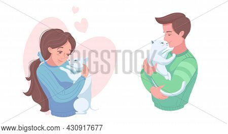 Happy Pet Owners With Puppy And Kitten, Vector Illustration. Girl And Boy Petting Dog, Cat. Domestic