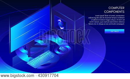 Computer Components Web Banner Template, Vector Isometric Illustration. Gaming, Workstation, Mining