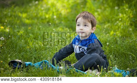 Little Child Is Sitting On The Green Grass. Little Boy In The Spring On The Lawn. Cute Baby Face. Go