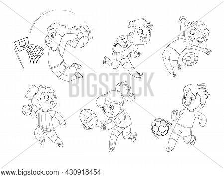 Team Sport. Set. Volleyball, Football, Basketball, Rugby, Handball, Dodgeball. Funny Cartoon Charact