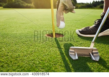 Golfer Takes Out Golf Ball From Hole In Golf Course After Successful Hit Using Putter, In A Sunny Da