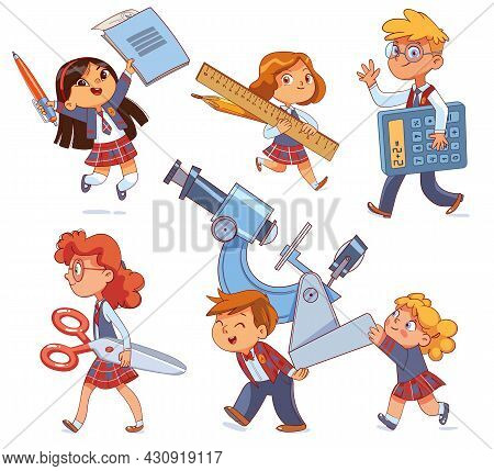 Back To School. Little Children Holding Big School Stationery. Set. Notebook And Pen. Pencil And Rul