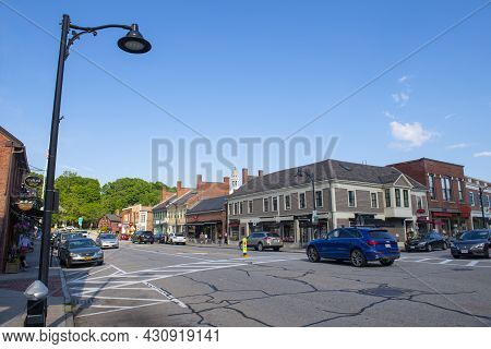 Concord, Ma, Usa - Jun. 27, 2019: Historic Buildings On Main Street In Historic Center Of Concord, M