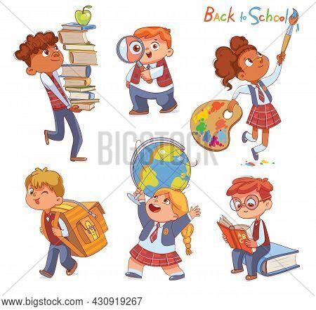 Back To School. Little Children Holding School Stationery. Set. Stacks Of Books. Magnifying Glass. S
