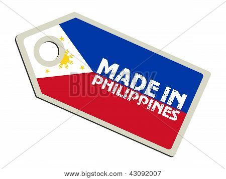 label with flag of Philippines