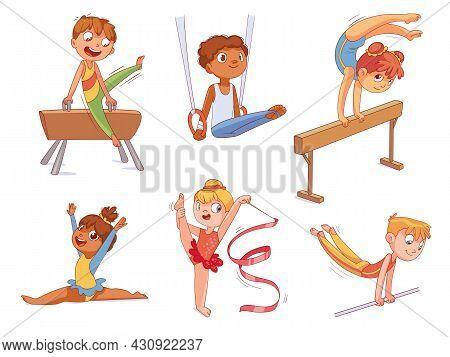 Rhythmic Gymnastics. Kids Artistic Gymnastics Balance Beam, Still Rings, Pommel Horse, Horizontal Or