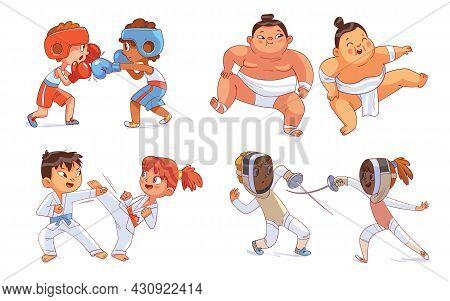 Combat Sport. Set. Boxing, Sumo, Fencing, Karate. Colorful Cartoon Characters. Funny Vector Illustra