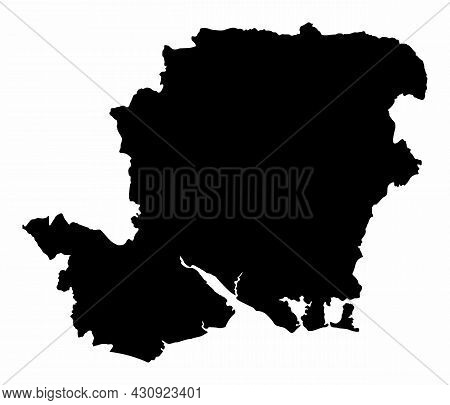 Hampshire County Dark Silhouette Map Isolated On White Background, England