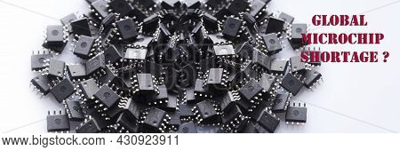 Panoramic Banner Of Pile Of Integrated Circuit Chip On White Background. Global Microchip Shortage.