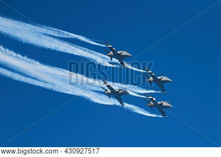 Helsinki, Finland - 9 June 2017: The Finnish Air Force Display Team Midnight Hawks Celebrating 20th