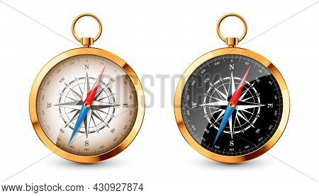 Realistic Golden Vintage Compass With Marine Wind Rose And Cardinal Directions Of North, East, South